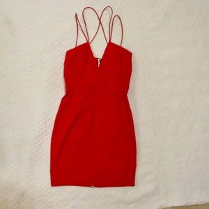 Dress Bodycon Cocktail Strappy V Neck Red